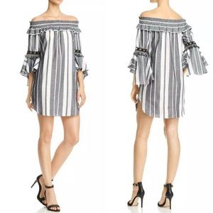 Misa Los Angeles Stripe Mini Off Shoulder Dress